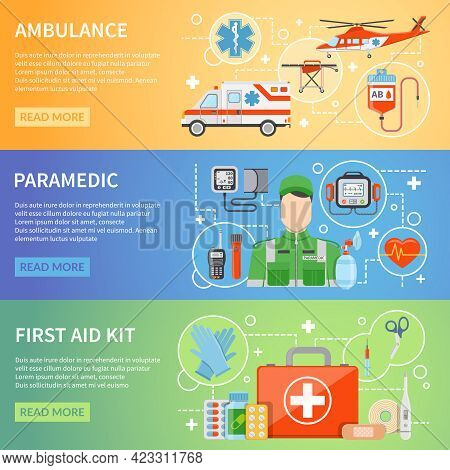 Paramedic Horizontal Banners With Medicine Chest Ambulance Air And Car Transport And Medical Assista