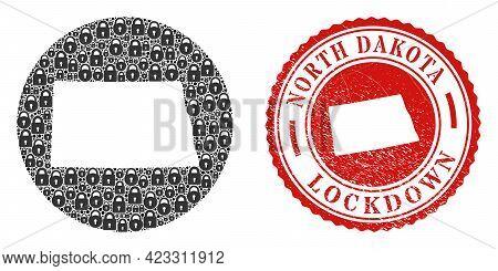 Vector Mosaic North Dakota State Map Of Locks And Grunge Lockdown Stamp. Mosaic Geographic North Dak