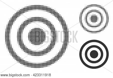 Concentric Circles Halftone Dotted Icon. Halftone Array Contains Circle Pixels. Vector Illustration