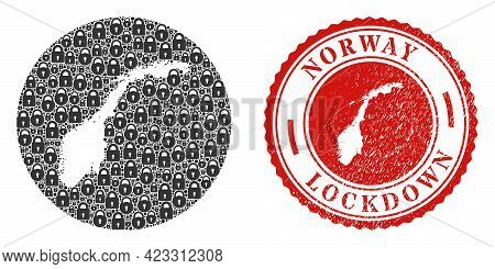 Vector Mosaic Norway Map Of Locks And Grunge Lockdown Seal Stamp. Mosaic Geographic Norway Map Const