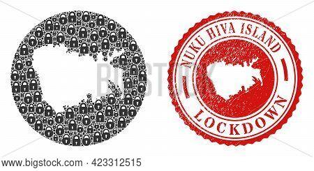 Vector Mosaic Nuku Hiva Island Map Of Locks And Grunge Lockdown Seal. Mosaic Geographic Nuku Hiva Is