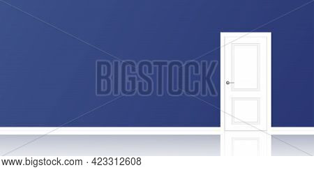 Realistic Empty Room Interior With Blue Wall And Closed White Door. Empty Room With Reflection. Inte