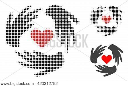 Lovely Craft Hands Halftone Dotted Icon. Halftone Pattern Contains Round Pixels. Vector Illustration