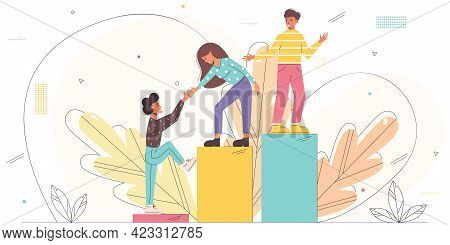 Vector Illustration With Young Employees Helping Each Other To Climb The Stairs. Teamwork, Teambuild