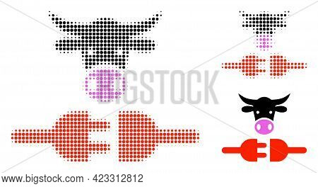 Farm Power Supply Halftone Dotted Icon. Halftone Pattern Contains Round Dots. Vector Illustration Of