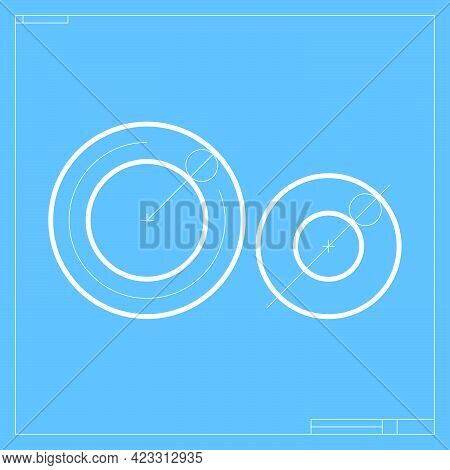 Blueprint Sketch Letter O Logo With Construction Lines. Vector Font For Building Company Identity, A