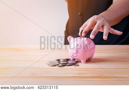 Save Money, Woman Hand Putting Coins Into Blue Piggy Bank For Account Save Money, Planning  Step Up