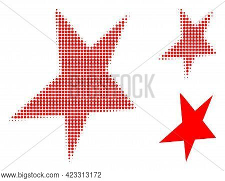 Asymmetrical Star Halftone Dotted Icon. Halftone Pattern Contains Round Elements. Vector Illustratio