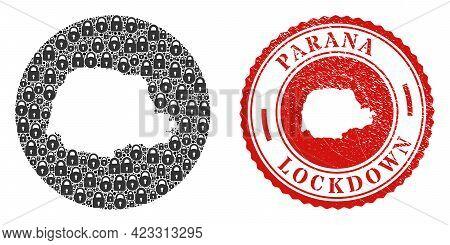 Vector Mosaic Parana State Map Of Locks And Grunge Lockdown Seal. Mosaic Geographic Parana State Map