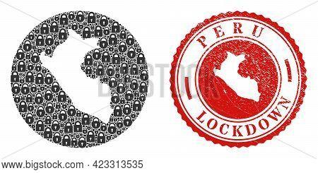 Vector Mosaic Peru Map Of Locks And Grunge Lockdown Seal Stamp. Mosaic Geographic Peru Map Designed