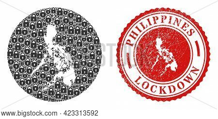 Vector Mosaic Philippines Map Of Locks And Grunge Lockdown Seal. Mosaic Geographic Philippines Map C