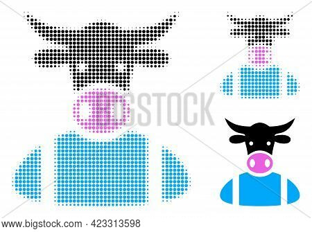 Cow Boy Halftone Dotted Icon. Halftone Array Contains Round Elements. Vector Illustration Of Cow Boy