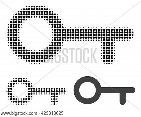 Key Halftone Dotted Icon. Halftone Array Contains Round Dots. Vector Illustration Of Key Icon On A W