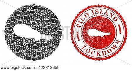 Vector Mosaic Pico Island Map Of Locks And Grunge Lockdown Seal Stamp. Mosaic Geographic Pico Island