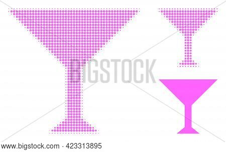 Martini Cup Halftone Dotted Icon. Halftone Array Contains Circle Elements. Vector Illustration Of Ma