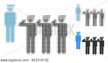 Military Unit Halftone Dotted Icon. Halftone Pattern Contains Round Pixels. Vector Illustration Of M