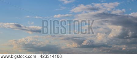 Panorama Of Sky With Clouds In Late Afternoon