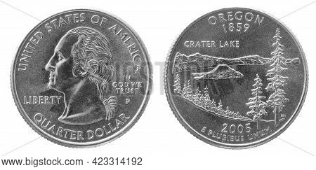 Obverse And Reverse Of 2005 Quarter Dollar Cupronickel Us Coin Isolated On White Background