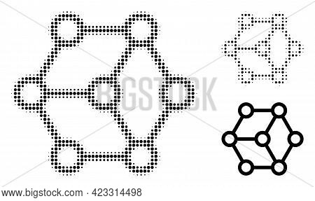 Blockchain Halftone Dotted Icon. Halftone Pattern Contains Round Dots. Vector Illustration Of Blockc