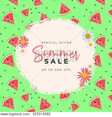 Summer Sale Background With Watermelon Pattern. Vector Illustration