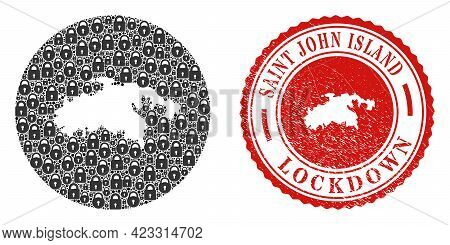 Vector Mosaic Saint John Island Map Of Locks And Grunge Lockdown Seal Stamp. Mosaic Geographic Saint