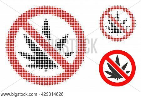 Forbidden Cannabis Halftone Dotted Icon. Halftone Pattern Contains Circle Pixels. Vector Illustratio