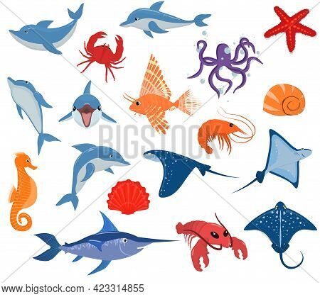 A Set Of Vector Illustrations With The Inhabitants Of The Sea. A Variety Of Mammals, Fish And Shellf