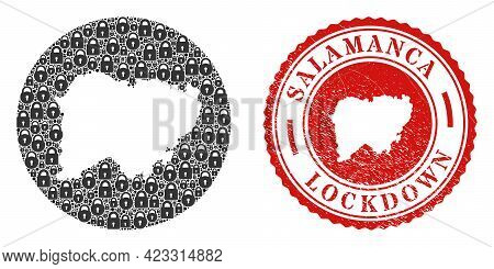 Vector Mosaic Salamanca Province Map Of Locks And Grunge Lockdown Stamp. Mosaic Geographic Salamanca