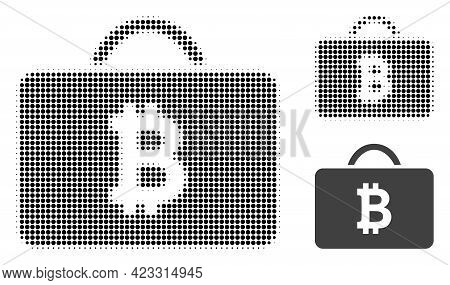 Bitcoin Case Halftone Dotted Icon. Halftone Array Contains Circle Elements. Vector Illustration Of B