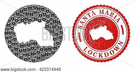 Vector Mosaic Santa Maria Island Map Of Locks And Grunge Lockdown Stamp. Mosaic Geographic Santa Mar