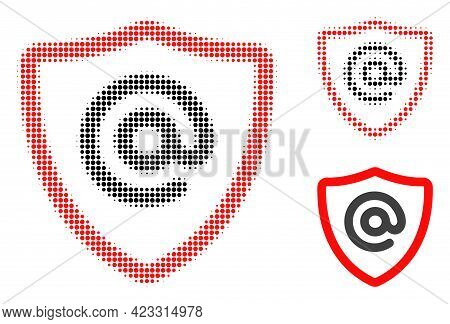 Email Address Protection Halftone Dotted Icon. Halftone Array Contains Circle Pixels. Vector Illustr