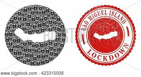 Vector Mosaic Sao Miguel Island Map Of Locks And Grunge Lockdown Stamp. Mosaic Geographic Sao Miguel