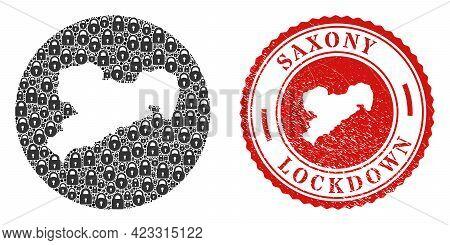 Vector Collage Saxony Land Map Of Locks And Grunge Lockdown Seal Stamp. Mosaic Geographic Saxony Lan