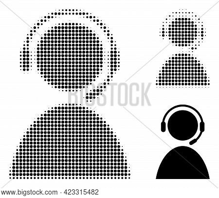 Call Center Operator Halftone Dotted Icon. Halftone Pattern Contains Circle Elements. Vector Illustr