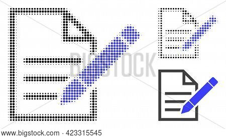 Edit Text Page Halftone Dotted Icon. Halftone Array Contains Round Elements. Vector Illustration Of