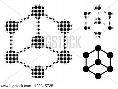Isometric Cube Halftone Dotted Icon. Halftone Pattern Contains Round Dots. Vector Illustration Of Is
