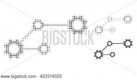 Gear Links Halftone Dotted Icon. Halftone Array Contains Circle Points. Vector Illustration Of Gear