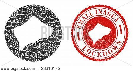 Vector Mosaic Small Inagua Island Map Of Locks And Grunge Lockdown Stamp. Mosaic Geographic Small In