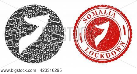 Vector Collage Somalia Map Of Locks And Grunge Lockdown Seal Stamp. Mosaic Geographic Somalia Map Co