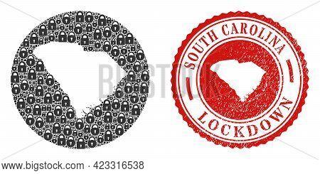 Vector Mosaic South Carolina State Map Of Locks And Grunge Lockdown Seal Stamp. Mosaic Geographic So