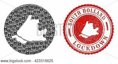 Vector Mosaic South Holland Map Of Locks And Grunge Lockdown Stamp. Mosaic Geographic South Holland