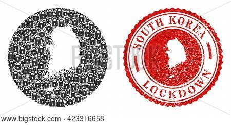 Vector Mosaic South Korea Map Of Locks And Grunge Lockdown Stamp. Mosaic Geographic South Korea Map