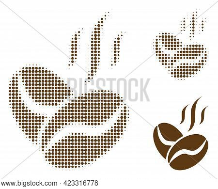 Coffee Beans Aroma Halftone Dotted Icon. Halftone Pattern Contains Round Elements. Vector Illustrati