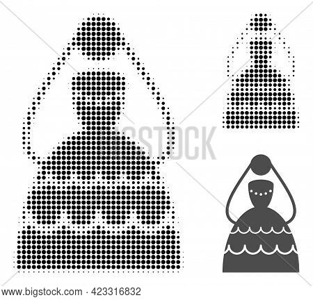 Bride Halftone Dotted Icon. Halftone Pattern Contains Round Pixels. Vector Illustration Of Bride Ico
