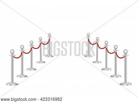Red Carpet And Rope Path Barriers 3d.