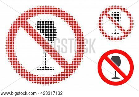 Forbidden Wine Halftone Dotted Icon. Halftone Array Contains Circle Elements. Vector Illustration Of