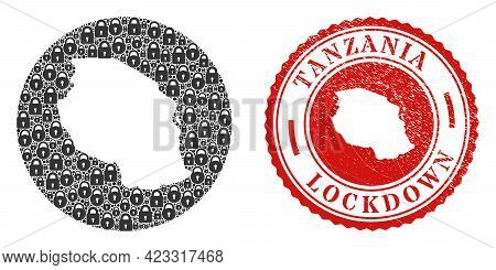 Vector Mosaic Tanzania Map Of Locks And Grunge Lockdown Seal Stamp. Mosaic Geographic Tanzania Map C