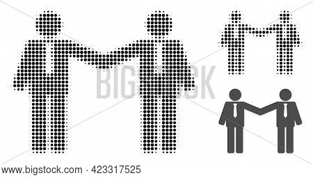 Businessmen Relations Halftone Dotted Icon. Halftone Pattern Contains Round Elements. Vector Illustr
