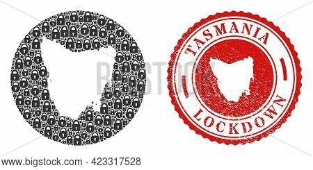 Vector Mosaic Tasmania Island Map Of Locks And Grunge Lockdown Seal Stamp. Mosaic Geographic Tasmani