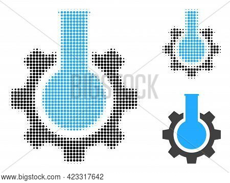Chemical Industry Halftone Dotted Icon. Halftone Pattern Contains Round Elements. Vector Illustratio